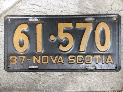 1937 Nova Scotia Canada License Plate, Number 61570, All Original