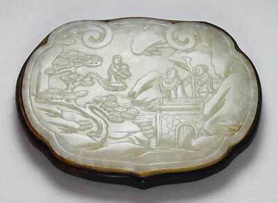ANTIQUE 18thC  CHINESE CARVED WHITE / OFF WHITE JADE RUYI HEAD PLAQUE