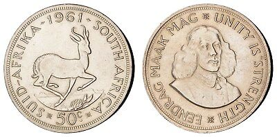 MD.115) SOUTH AFRICA 50 cents 1961 / Silver / XF+