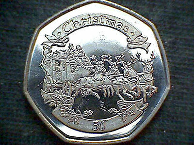 2008 Gibraltar 50p Fifty Pence BUNC Christmas Coin,COACH and REINDEERS