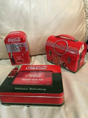 3 Coca Cola Coke Retro Dome Metal Tin Lunchbox Photo & Storage Box Lot