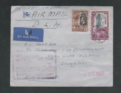 Gambia 1935 GV Airmail Cover to Liverpool via Germany