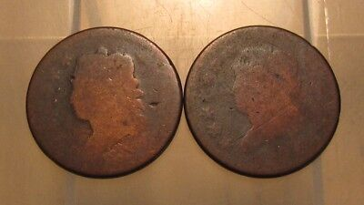 (2) Dateless Classic Head Large Cent Penny - Well Worn Condition - 75SU
