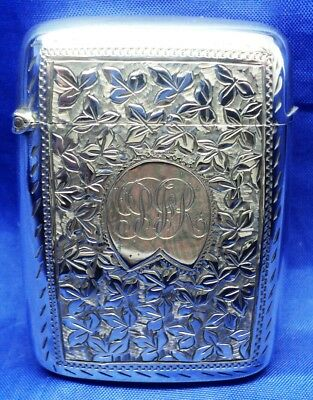Unusual Victorian Solid Silver Plain Back & Engraved Front Vesta Case B'ham 1892