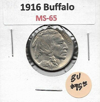 1916 Buffalo Nickel in Pristene GEM Mint State Uncirculated Type Coin- SUPER!