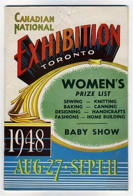 CANADIAN NATIONAL EXHIBITION TORONTO WOMEN'S PRIZE LIST 1948 Sewing Baby Show