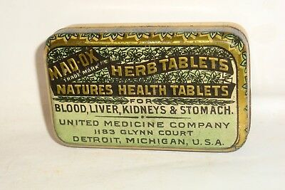 Nice Old Litho Flat Pocket Mad-Ox Advertising Pharmaceutical Medicine Tin Can
