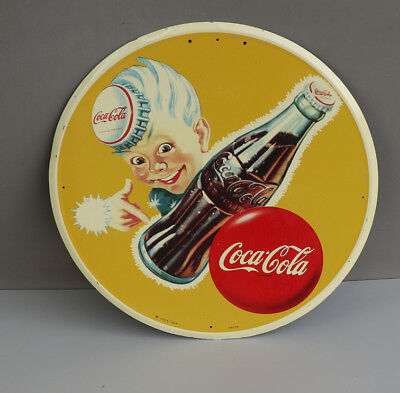 1950s Coca Cola Sign with Spriteboy Button and Bottle