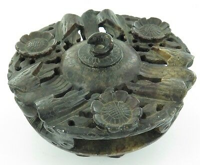 .Good Vintage Oriental Nicely Carved Soapstone Incence Burner. Birds & Flowers