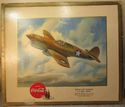1943, War Plane Picture With Coke Logo, Artist Heaslip. 15x13 Warhawk
