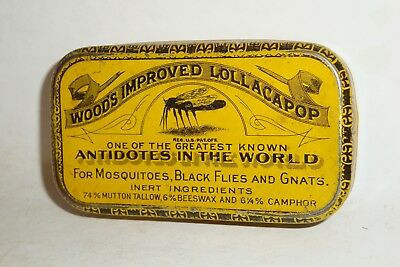 Nice Old Litho Woods Bug Bite Remedy Advertising Pharmaceutical Medicine Tin Can