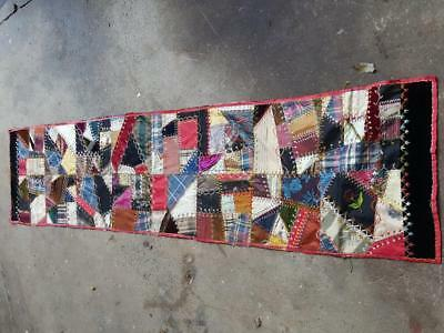 Antique Crazy Quilt Table Runner Fancy Enbroidery