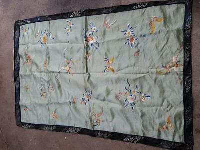 Antique Japanese Silk Textile Table Cover Hand Sewn