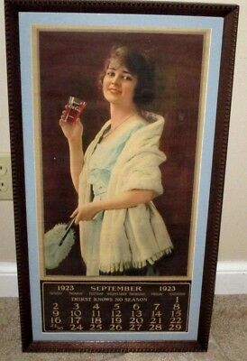 1923- Coca-Cola Girl Calendar-Framed-Drink Coca Cola Glass -Sign-Display-27""