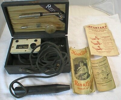 Renulife Violet Ray Antique Medical Quackery with Case and Instructions
