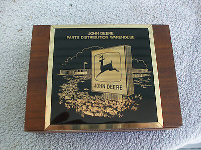 Vintage John Deere Wood Box Playing Cards Holder Brass Plaque Parts Warehouse