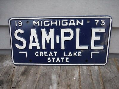 Vintage 1973 Michigan Sample License Plate Nice Example! Man Cave Nr!