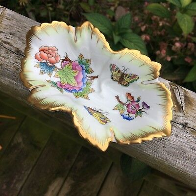 Antique Herend Butterfly Nut Dish Hungary Hand Painted Numbered