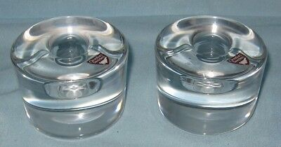 Orrefors Candle Holders Pair Mark New Sweden