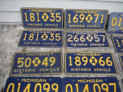 Lot Of 14 Michigan Historic Vehicle Vehicles License Plates Nice Nr Auction!
