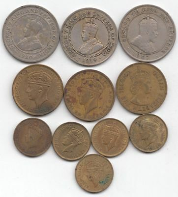 Lot of 11 Colonial Jamaican Coins (earliest 1907, latest 1955)...99 cents...NR!