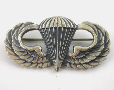 WWII US Army PARATROOPER Jump Wings STERLING SILVER Parachutist Badge AIRBORNE