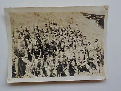 WWII Japanese Photo Soldiers Rifles Camouflage WW2 Japan Photograph VTG Old WW 2