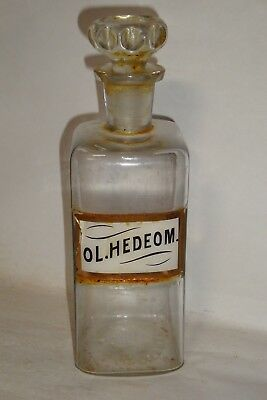 Nice Old Label Under Glass Drug Store Pharmaceutical Medicine Apothecary Jar