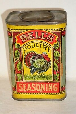 Nice Old Cardboard Bell's Brand Poultry Seasoning Advertising Spice Tin Can