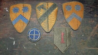 lot of WWII era 1st / 2nd Cavalry & Infantry Division patches GREENBACK - FLAWED