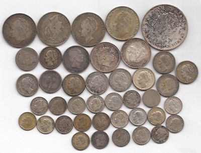 Lot of Netherlands Silver Coins (inc. 1860 1/2 G) 3 ounces of pure Silver...NR!
