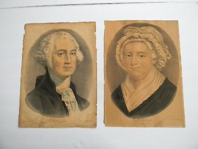 ANTIQUE CURRIER & IVES LITHOGRAPHS of GEORGE & MARTHA WASHINGTON & ABE LINCOLN