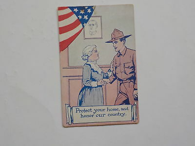 WWI Postcard Patriotic Protect Your Home And Honor Our Country WW1 Post Card VTG