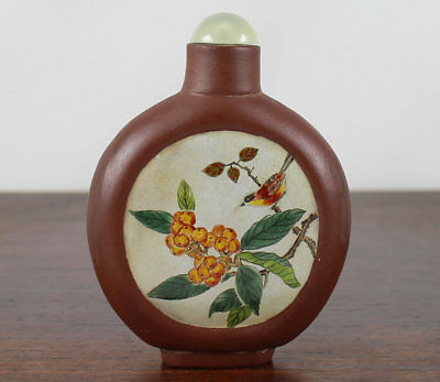 Antique Chinese Yixing Pottery Snuff Bottle, Enamel Panels 19Th / 20Th C