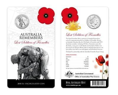 2010 Lost Soldiers of Fromelles Australian Twenty Cent on Display Card - UNC