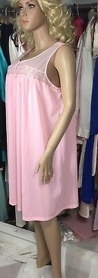 """Vtg Lorraine Nightgown Soft and Silky Pink Nylon XL, 1X Bust 54"""" Sissy"""