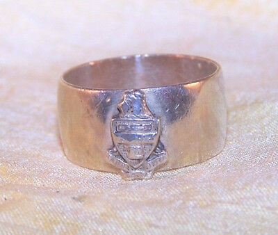 VINTAGE Kappa Alpha Theta sorority sterling silver crest band ring, sz 7.5 OLD