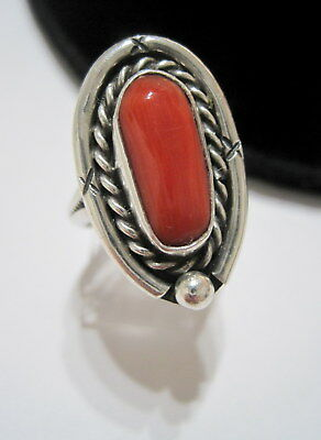 GORGEOUS Vtg SOUTH-WEST NATIVE OLD PAWN Natural RED CORAL Sterling RING Size=7.5