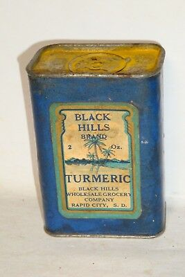 Nice Old Paper Label Black Hills Brand Turmeric Advertising Spice Tin Can