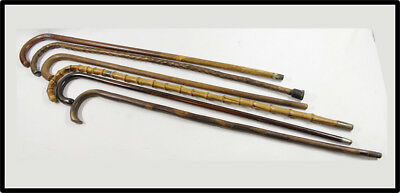 Vintage NICE LARGE lot 6 walking sticks LOOK silver no reserve