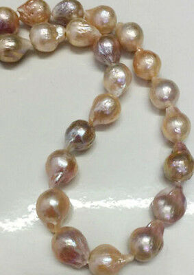 """Genuine 11-14mm Natural South Sea Baroque Lavender Akoya Pearl Necklace 18"""""""