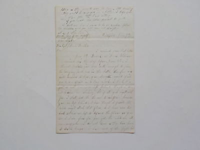 Civil War Letter Rebels Might Attack Killed Shot Through Heart Vicksburg Antique