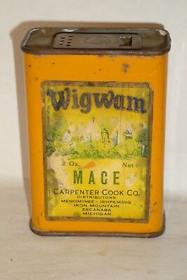 Nice Old Paper Label Wigwam Brand Mace Advertising Spice Tin Can