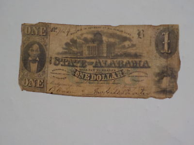 Civil War Confederate 1863 1 Dollar Bill Montgomery Alabama Paper Money Note CSA