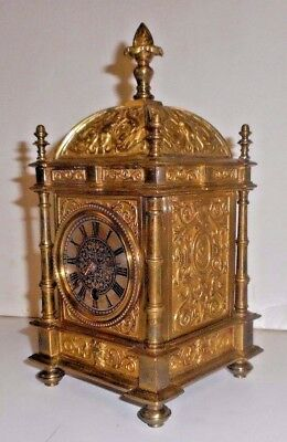 ANTIQUE FANCY FRENCH 8 DAY MECHANICAL DESK CARRIAGE BRASS LANTERN CLOCK Working