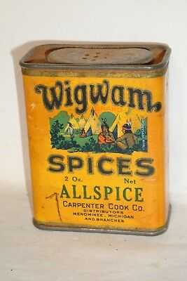 Nice Old Cardboard Tall Wigwam Brand Allspice Advertising Spice Tin Can