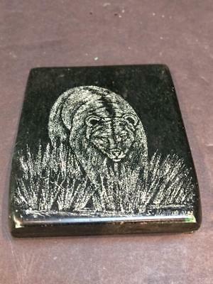 Vintage Inuit Native Canadian Engraved Soapstone Bear Picture