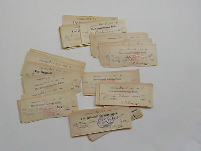 75 Antique Checks 1906-08 Grinnell Savings Bank Iowa Money Paper VTG Lot Old USA