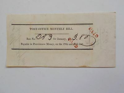 Antique Document 1834 Post-Office Monthly Bill Paper VTG American USA Old US NR