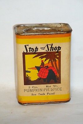 Nice Old Cardboard Stop & Shop Brand Pumpkin Pie Spice Advertising Spice Tin Can
